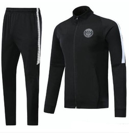 Wholesale Sleeve Lace Tops - PSG N98 soccer Jacket 2018 Survetement chandal jogging tracksuit maillot de foot neymar jr CAVANI DI MARIA jacket 17 18 top soccer tracksui