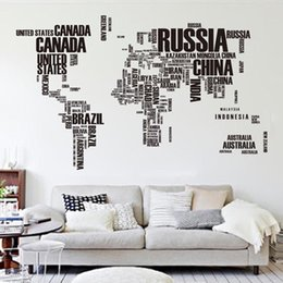 Wholesale World Map Sticker Decal - Large Size One Set 190*116cm 74.8*45.6inch Black Letters World Map Removable Vinyl Decal Art Mural Home Decor Wall Stickers