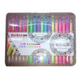 Wholesale Fluorescent Gel - PrettyBaby neon water chalk gel pens diamond gel pens for secret garden coloring book flash Fluorescent gel pen fine drawing pens 36 color