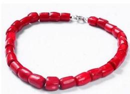 Argentina 18''Genuine Nature Columna de alta calidad Coral rojo Piedra preciosa piedras preciosas Princesa collar cheap coral gemstone beads Suministro