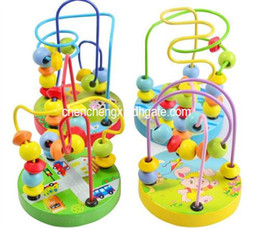 Wholesale Toy Baby Games - Baby game Toy New 1PC baby wooden toys baby learning education toy Rosary beads around natural quality wood