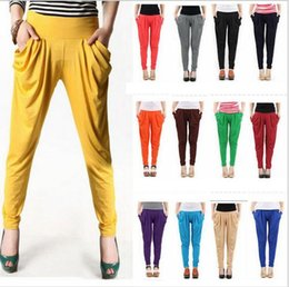 Wholesale Harem Pants For Ladies - 17 Solid Colors Summer Lightweight Long Full Length Elastic Waist Pleated Loose Women Harem Pants Capris Casual trousers for ladies p467