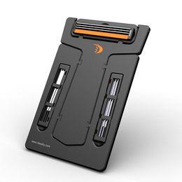 Wholesale Carzor Pocket Razor - Wholesale-Hight Quality Carzor Wallet Portable Credit Card Shaver Pocket Razor Blades & Mirror lb SS
