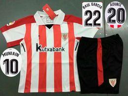 Wholesale Boys Athletic Shorts - 2017 2018 Kid's Athletic Bilbao Soccer Jersey Short Boy's Thai Quality Soccer Kit 17 18 GURPEGUI MUNIAIN Football Uniform Camiseta de futbol