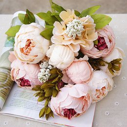 Wholesale Office Displays - 13 Heads Display Flower Fake Artificial Peony Festival Decorative Party Flowers For Home Hotel Wedding Office Garden Decoration