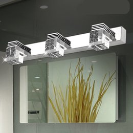 crystal bathrooms Promo Codes - LED Mirror Light Modern Luxury Powerful Bright LED Crystal Bathroom Wall Lamp Bright Mirror Front light Wall Sconces Washroom Wall Lamp
