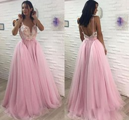 Wholesale Spaghetti Strap Skirt Top - Wholesale Pink Spaghetti Straps Prom Dresses Lace Top Beaded A Line Evening Gowns Fluffy Skirts Sexy Backless Prom Gowns 2018 New Designer
