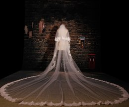 Wholesale Wedding Gowns Long Veils - Bridal Veil Cheap Long Veil 5 Meters Long Veil with Lace on the Edge Cathedral Veils for Wedding Gowns