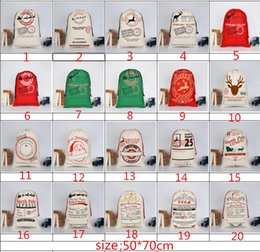 Wholesale String For Kids - 2017 Christmas Gift Bags Large Organic Heavy Canvas Bag Santa Sack Drawstring Bag With Reindeers Santa Claus Sack Bags for kids