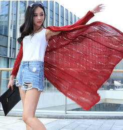 Wholesale Poncho Brown - Wholesale- Super Long Knitting Female Cardigans Hollow Out Women's Sweaters Summer Sunscreen Poncho Spring Designer Knitwear Feminino Coat