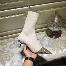 stiefeletten für kurze frauen Rabatt Bling bling Pailletten beige grau schwarz Kätzchen Heels gestrickte Ankle Boots für Frauen Strass Stretch kurze Stiefel glänzend Kristall Socken Stiefel