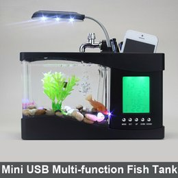 Wholesale Usb Tank Aquarium - Father's day Gift USB Desktop Fish Tank Aquarium with LED Light Fish Tank Aquarium water pump for Home Decoration Black  White