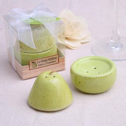 """Wholesale Perfect Pear - NEW ARRIVAL """"The Perfect Pair"""" Pear Ceramic Salt and Pepper Shaker Wedding giveaways gifts and favors 100sets lot FREE SHIPPING"""
