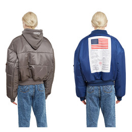 Wholesale America Long - Fashion MA1 Winter Vetements Oversize Warm windproof Men Hoodies Women Pilot America Flag Two sides wear Jacket Thick zipper Sports Coat