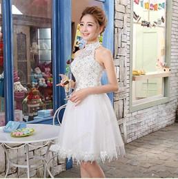 Wholesale Mini Skirts Designs - 2015 new Fashion Sexy short design white bridesmaid dress princess design small short skirt summer romantic For Wedding Party
