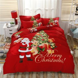 Wholesale Christmas Comforters Blue - Red Blue Luxury Christmas Tree Deer Gifts Bedding Set Twin Queen King Size 100% Cotton Soft Duvet Cover Pillowcase Bed sheet set