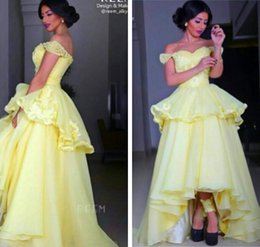 Wholesale Mermaid Strapless Ball Beaded Dress - 2015 New Arabic Prom Dresses Yellow Chiffon Off the Shoulder Beaded Applique Lace Ball Gown Evening Dress Peplum Hi Lo Length Party Gowns