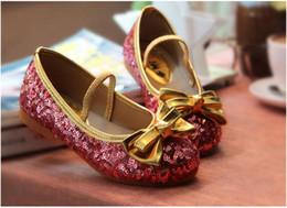 Wholesale Leather Shiny Pvc - Girl Shoes Princess Sequins Shoes Bling Shiny Sequins Bow Dress Shoes 3 Colors 5 p l
