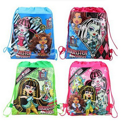 Wholesale Green School Bags - Monster high kids drawstring bags Children's backpacks handbags school bags kids' shopping bags present Child infant handbag 4tyles