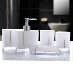 Wholesale Acrylic Bathroom Set - Acrylic Five Pieces Set Bath Wash Set Gift Bathroom Supplies Diamond Cup Brush Lovers Soap Dish Toothbrush Holder