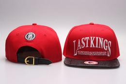 Wholesale lk leather - 2016 hot sale Last Kings Strapback caps red LK Snapbacks hats fashion men's LastKings leather brim strap snap back YP