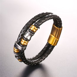 Wholesale Simple Gold Design - U7 Two Sizes Hiphop Men Women Genuine Leather Weave Bangle Bracelet Simple Design Trendy 316L Stainless Steel Wristband Jewelry GH2689