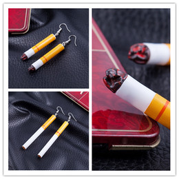 Wholesale White Plastic Hoops - High quality lifelike hip Hop earrings fashion Jewelry funny personality simulation plastic cigarette earrings for men and women