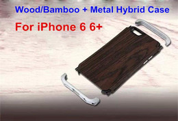 Wholesale Aluminum Cleave - Natural Wood Bamboo Aluminum Metal Hybrid Frame Bumper Small Waist Cleave Hard Back Case Cover Leather Pouch For iPhone 6   6 Plus 4.7 5.5