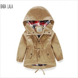Wholesale Trench Coats For Babies - Wholesale-Kids Trench Coat Boys Hooded Boy Trench Coat Brand Full Sleeve Baby Trench Coat Solid Trench Coats For Boys