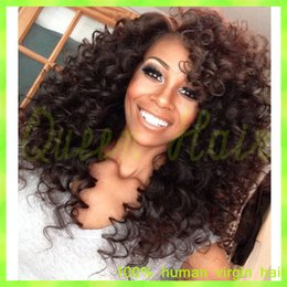 Wholesale kinky big hair wig - Cheap brazilian lace front wig kinky curly full lace human hair wigs for black women sed part bleached knots free shipping