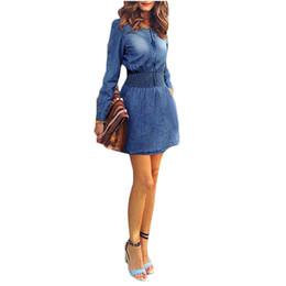Wholesale Mini Pocket Trumpet - S5Q Women's Vintage Autumn Slim Casual Dress Long Sleeve Denim Jeans Mini Skirt AAADYH