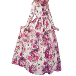 Wholesale Sexy Long Sleeved Maxi Dresses - S5Q Women Winter Elegant Long Sleeved O-Neck High Waist Put On Large Print Dress AAAFNV