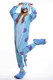 Wholesale Cheap Cosplay Outfits - Funny Sulley Kigurumi Pajamas Animal Suits Cosplay Outfit Halloween Costume Adult Garment Cartoon Jumpsuits Unisex Cheap Animal Sleepwear