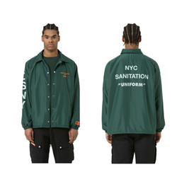 Wholesale Shirt Epaulets - 17ss Heron Preston x DSNY embroidered letters printed cotton men and women solid color loose jacket long-sleeved shirt coat