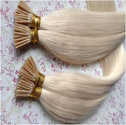Wholesale Wholesale Keratin Bond Hair Extensions - Color 613 Full Cuticle Silky Straight Pre-bonded I Tip Hair Extension,8-32'' 100g set Blonde Virgin Remy Fusion Keratin I-tip Stick Tip Hair