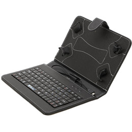 Wholesale US Stock quot Inch Mirco USB Keyboard Case PU Leather Tablet Stand Cover Cases Foldable Folding Folio for Inch Tablet PC