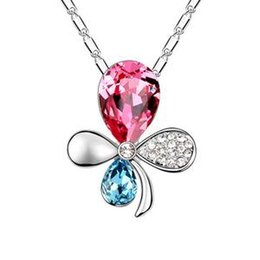 Wholesale Orchid Pendant - Austrian crystal necklace - butterfly orchid-colours