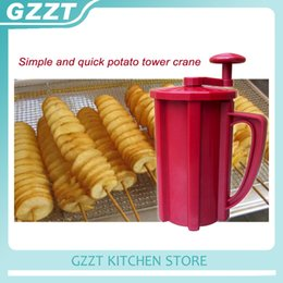 Wholesale twisted blade - Abs Plastic Stainless Steel Blade Manual Twisted Spiral Potato Cutter Potato Slicer Kitchen Tool Potato Cutting Machine