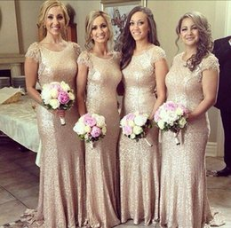 Wholesale Short Bling Dresses Sleeves - Champagne Bridesmaid Dresses 2016 Mermaid Gold Sequins Bling Cap Sleeve Scoop Neckline Fit and Flare Evening Dress Party Formal Gowns