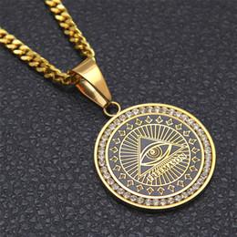 Wholesale Freemason Jewelry - Freemason Masonic Mason Illuminati All-seeing Eye Replica Coins Pendant Necklace Hip Hop Jewelry Stainless Steel Zircon Necklace