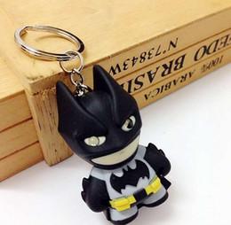 Wholesale Couple Music - 2016 avengers alliance Batman 2 child pendant Key chain chain key ring Wedding Keychain cartoon LED shine light music key Couple keychain