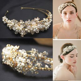 Wholesale Crystal Hair Accessories Head Band - 2015 Crystal Head Band with Gold Alloy Hair Piece Pearls Bridal Accessories Twigs Honey Inspired