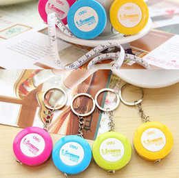 Wholesale Wholesale Sewing Notions - Mini Tape Measure Plastic Keychain Key Ring mixed Color Sewing Tailor Dieting Measuring Ruler Sewing Notions & Tools Gauging Tools