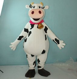 Wholesale real fur suits - SX0725 100% real picture free shipping milk cow mascot costume milkcow fur suit for adults to wera