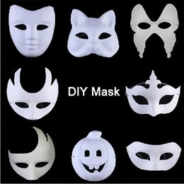 Wholesale Blank Butterfly Mask - Xmas Promotion DIY Mask Hand Painted Halloween White Face Mask Zorro Crown Butterfly Blank Paper Mask Masquerade Party Cosplay Masks
