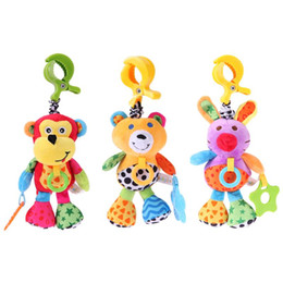 Wholesale bears sounds - Wholesale- Baby Car Bed Crib Hanging Plush Doll Monkey Bear Rabbit Stroller Appease Toy Cute Plush Shake Bell Sounding Rattles Doll Toys