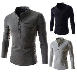 Wholesale Long Slim Polo Design - New men long sleeve T-shirt pocket flap design slim long sleeve t shirt 3555