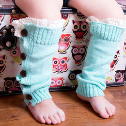 Wholesale Knit Boots For Kids - Girls Leg Warmers with Buttons Kids Leg Warmers Frill Lace for Kids Knitting Toddler Boot Socks