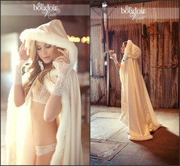 Wholesale Ivory Ruffled Wedding Shawl - 2016 Long Christmas Wedding Cloaks Jackets Faux Fur Graceful Hooded Winter Warm Wedding Accessories Long Shawl Ivory Bridal Wraps CPA378