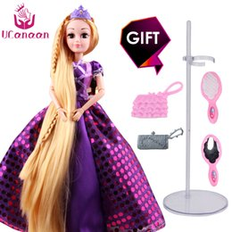 Wholesale Rapunzel Cartoon - Ucanaan 30cm Princess Dolls Rapunzel Long Hair Fashion Toys Joint Moving Body Long Thick Blonde Hair Birthday Girl Gift Doll